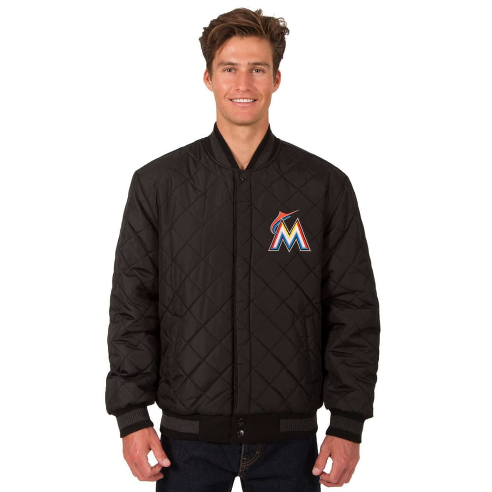 MIAMI MARLINS Men's Wool and Leather Reversible One Logo Jacket - BLACK