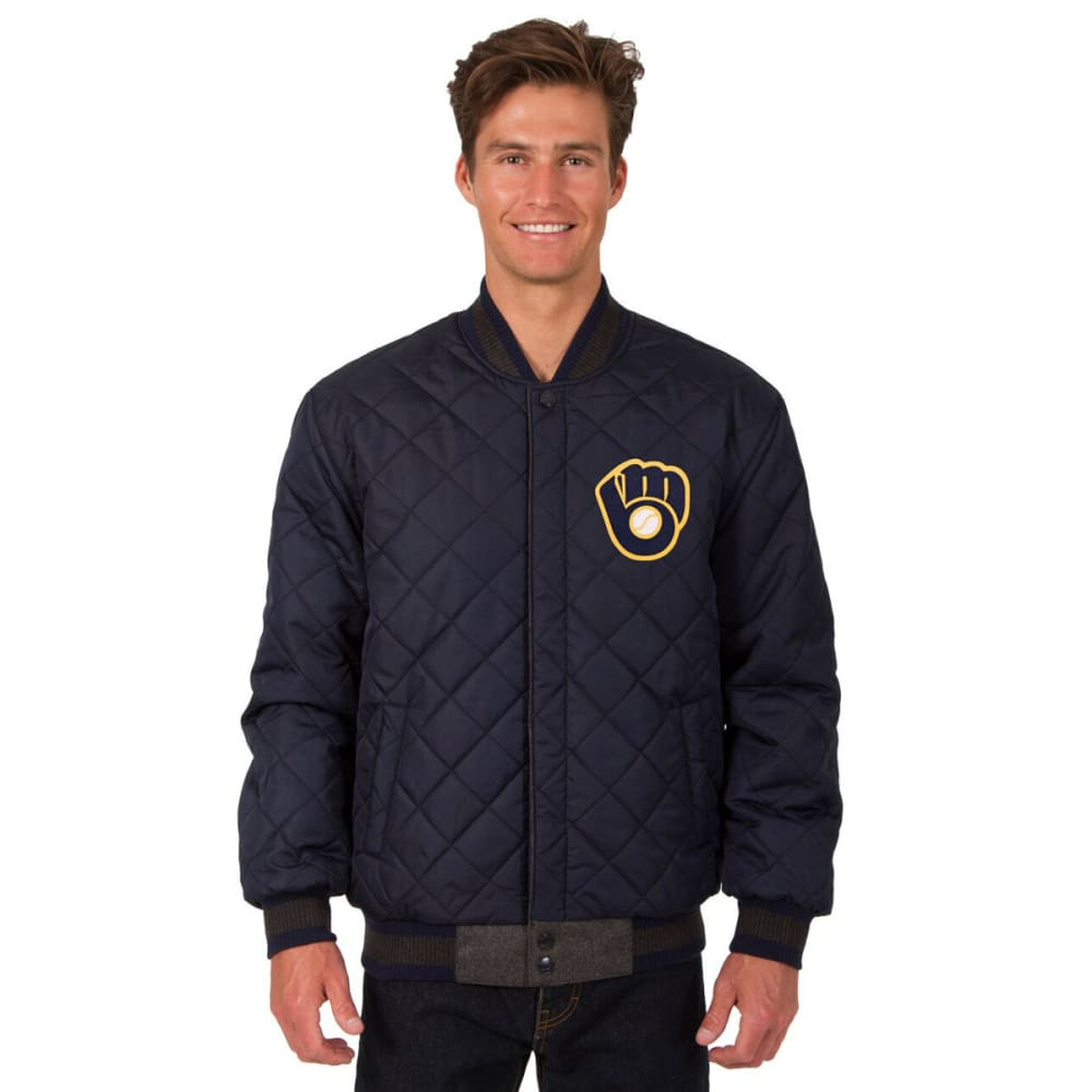 MILWAUKEE BREWERS Men's Wool and Leather Reversible One Logo Jacket - CHARCOAL-NAVY