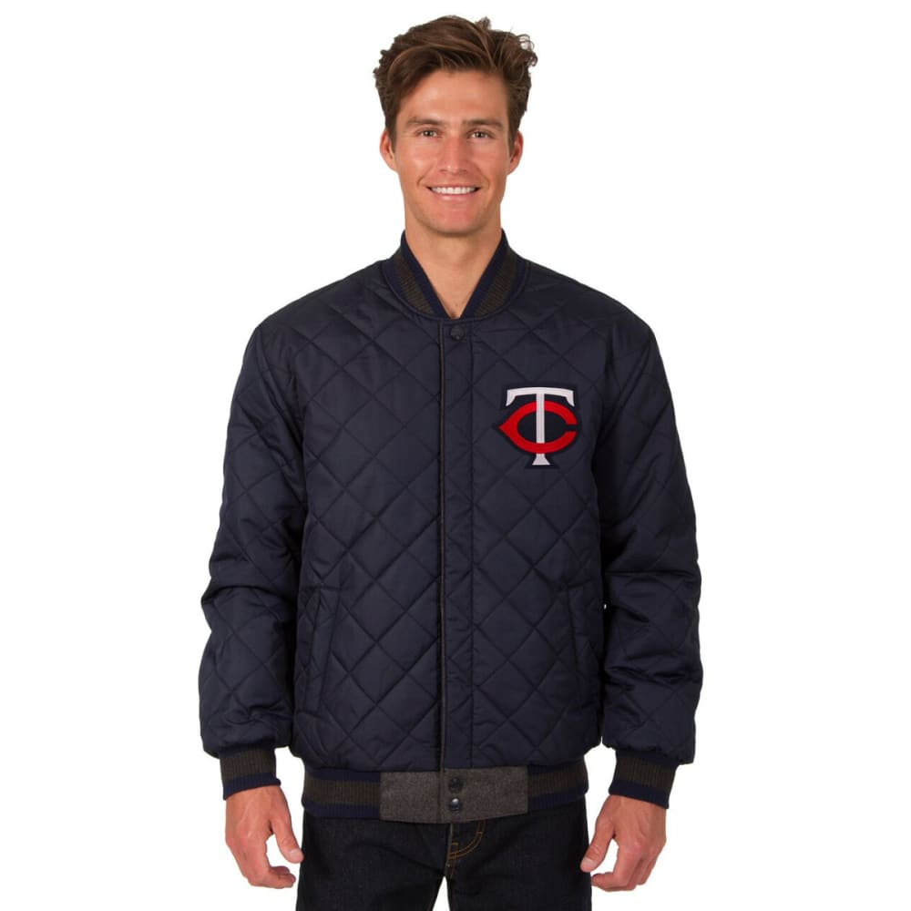 MINNESOTA TWINS Men's Wool and Leather Reversible One Logo Jacket - CHARCOAL -NAVY