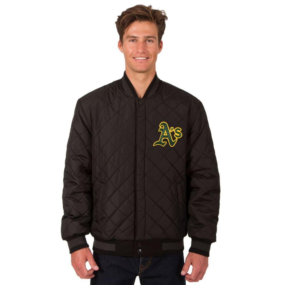 OAKLAND ATHLETICS Men's Wool and Leather Reversible One Logo Jacket - BLACK