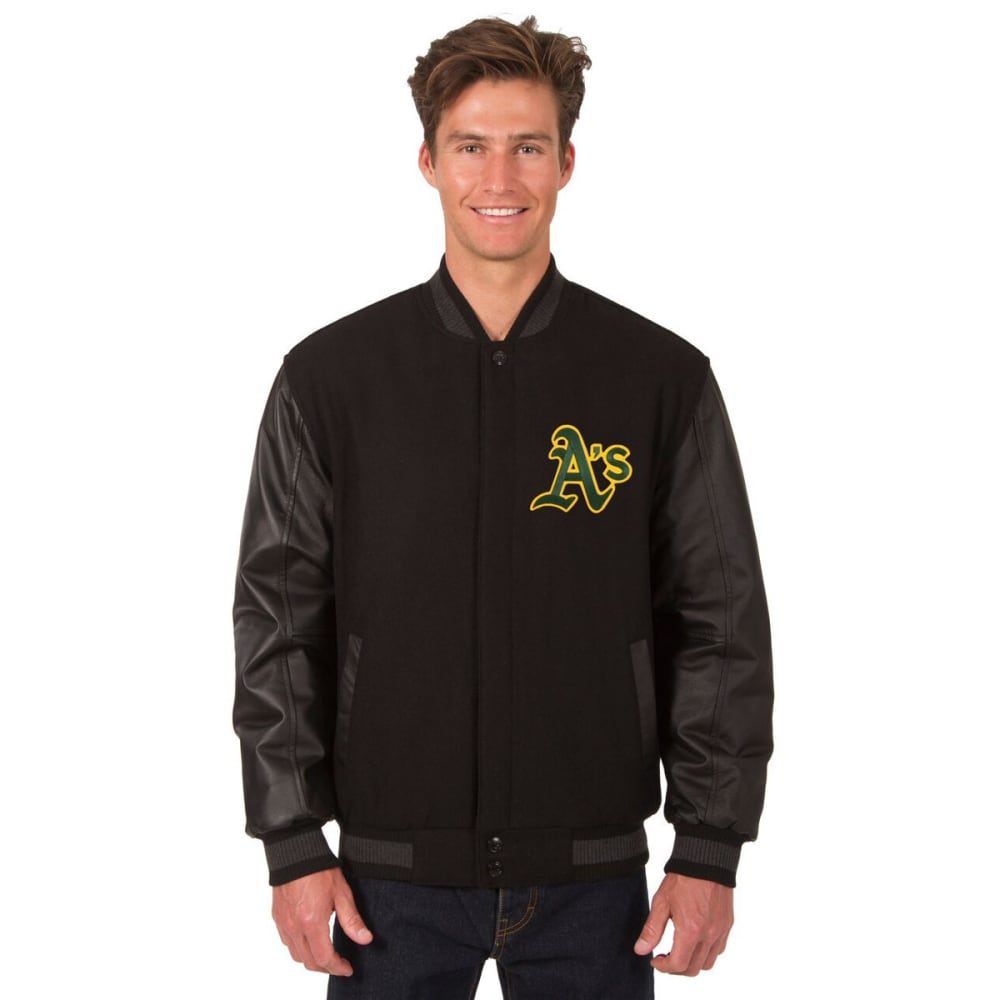 OAKLAND ATHLETICS Men's Wool and Leather Reversible One Logo Jacket S