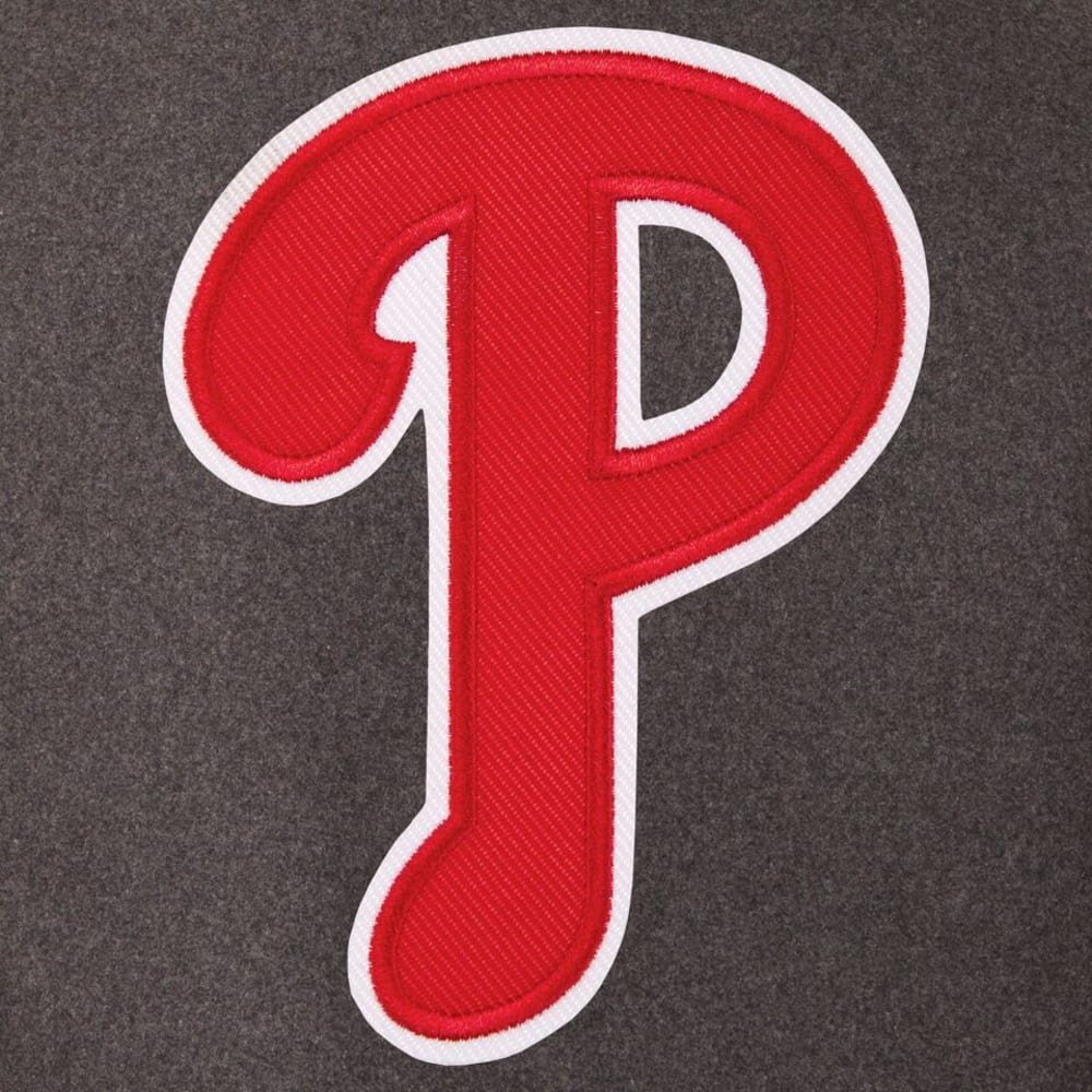 PHILADELPHIA PHILLIES Men's Wool and Leather Reversible One Logo Jacket - CHARCOAL-BLACK