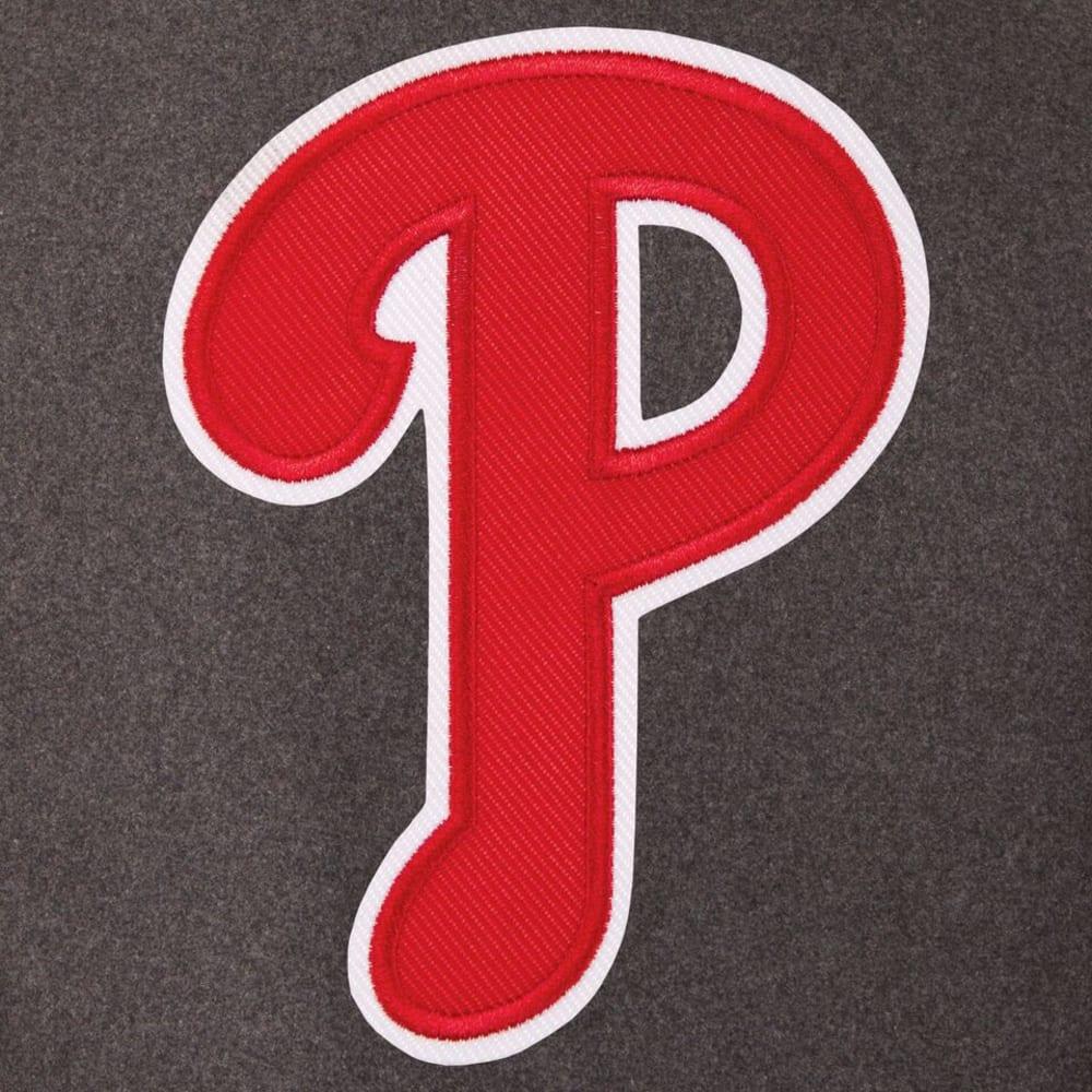 PHILADELPHIA PHILLIES Men's Wool and Leather Reversible One Logo Jacket - CHARCOAL-BLACK