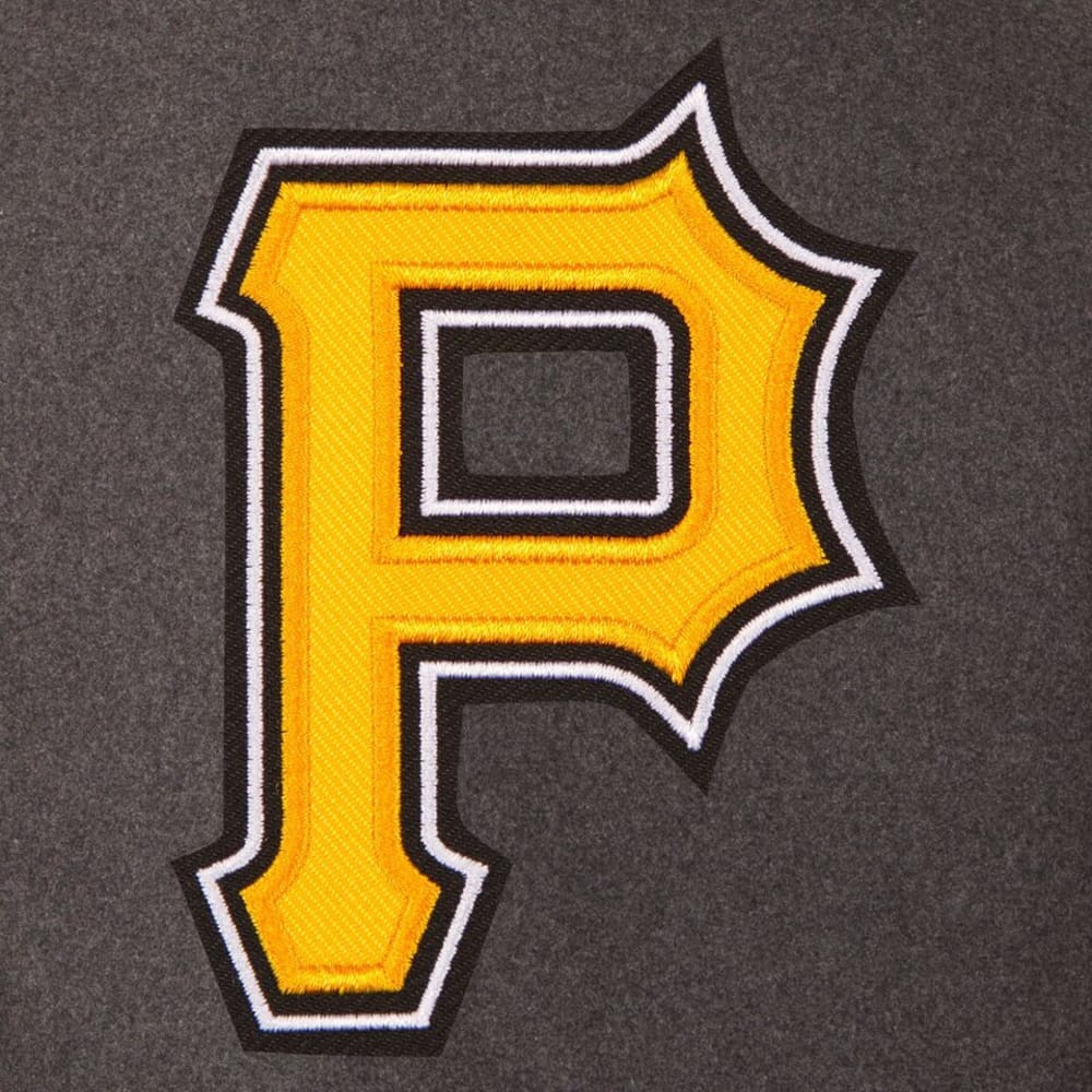 PITTSBURGH PIRATES Men's Wool and Leather Reversible One Logo Jacket - CHARCOAL-BLACK