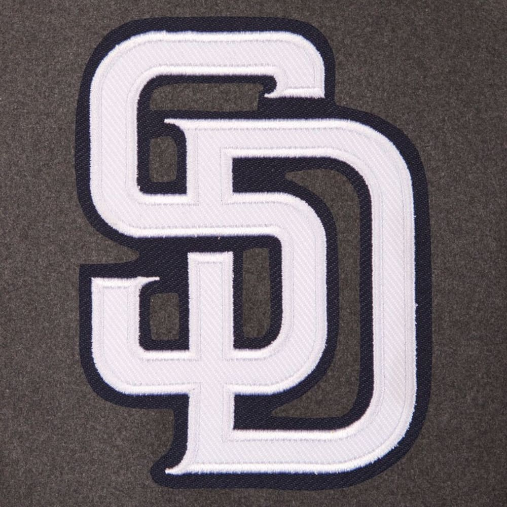 SAN DIEGO PADRES Men's Wool and Leather Reversible One Logo Jacket - CHARCOAL-BLACK