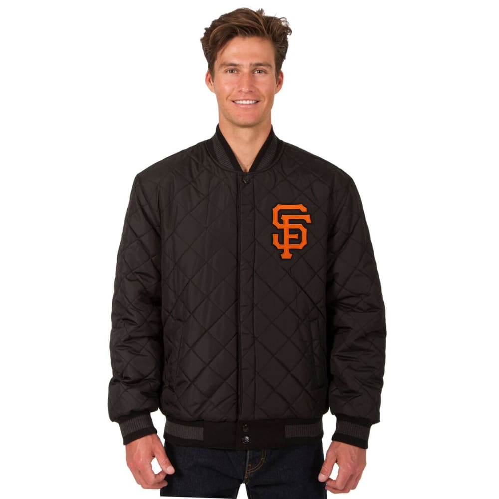 SAN FRANCISCO GIANTS Men's Wool and Leather Reversible One Logo Jacket - CHARCOAL-BLACK