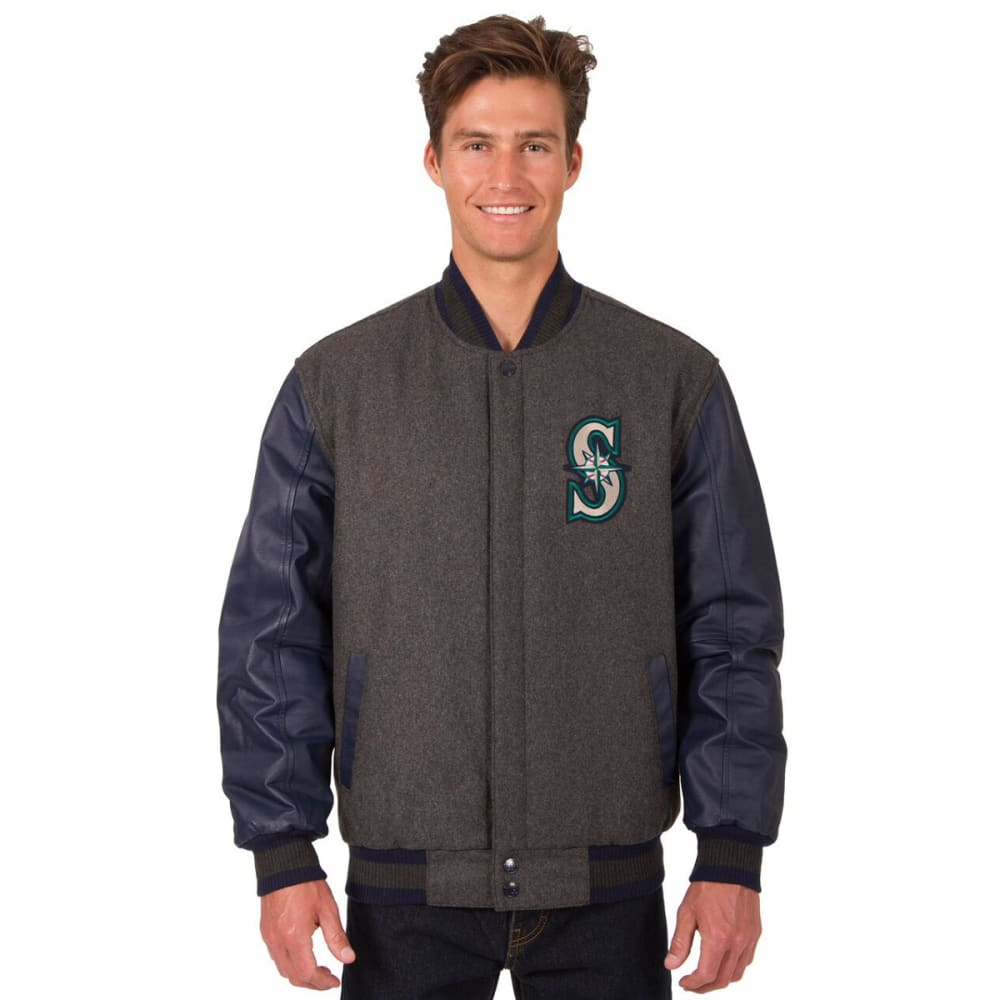 SEATTLE MARINERS Men's Wool and Leather Reversible One Logo Jacket - CHARCOAL-BLACK