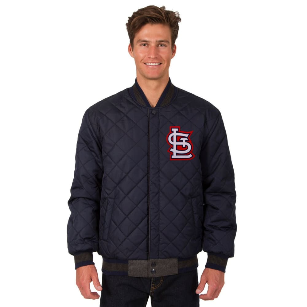 ST. LOUIS CARDINALS Men's Wool and Leather Reversible One Logo Jacket - CHARCOAL-NAVY