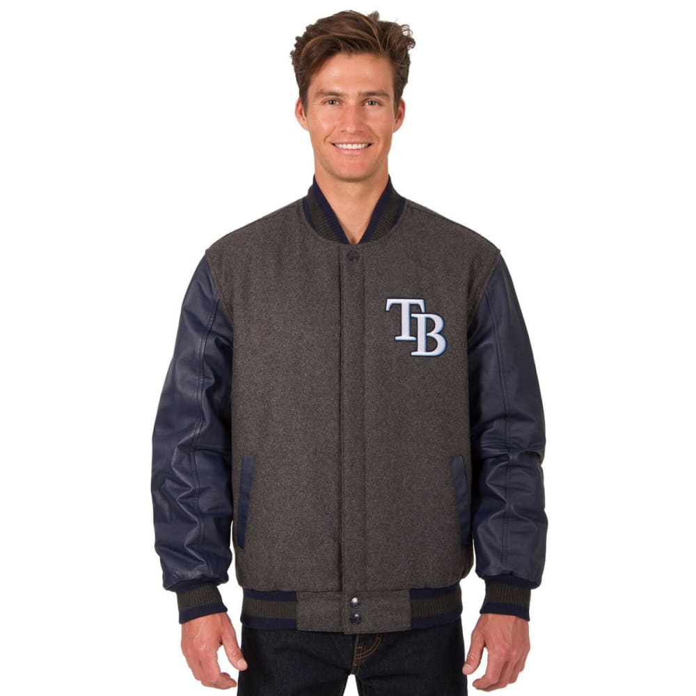 TAMPA BAY RAYS Men's Wool and Leather Reversible One Logo Jacket - CHARCOAL-NAVY