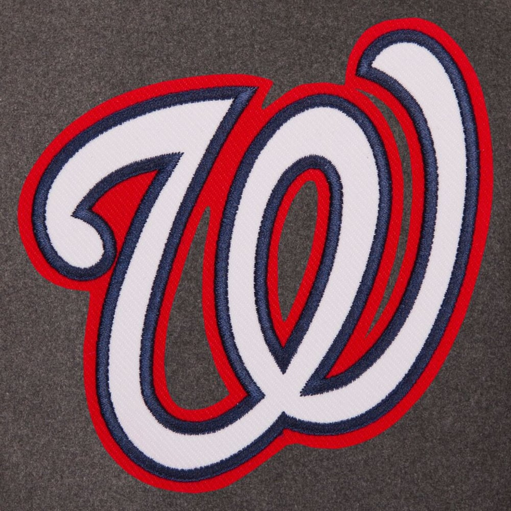 WASHINGTON NATIONALS Men's Wool and Leather Reversible One Logo Jacket - CHARCOAL -NAVY