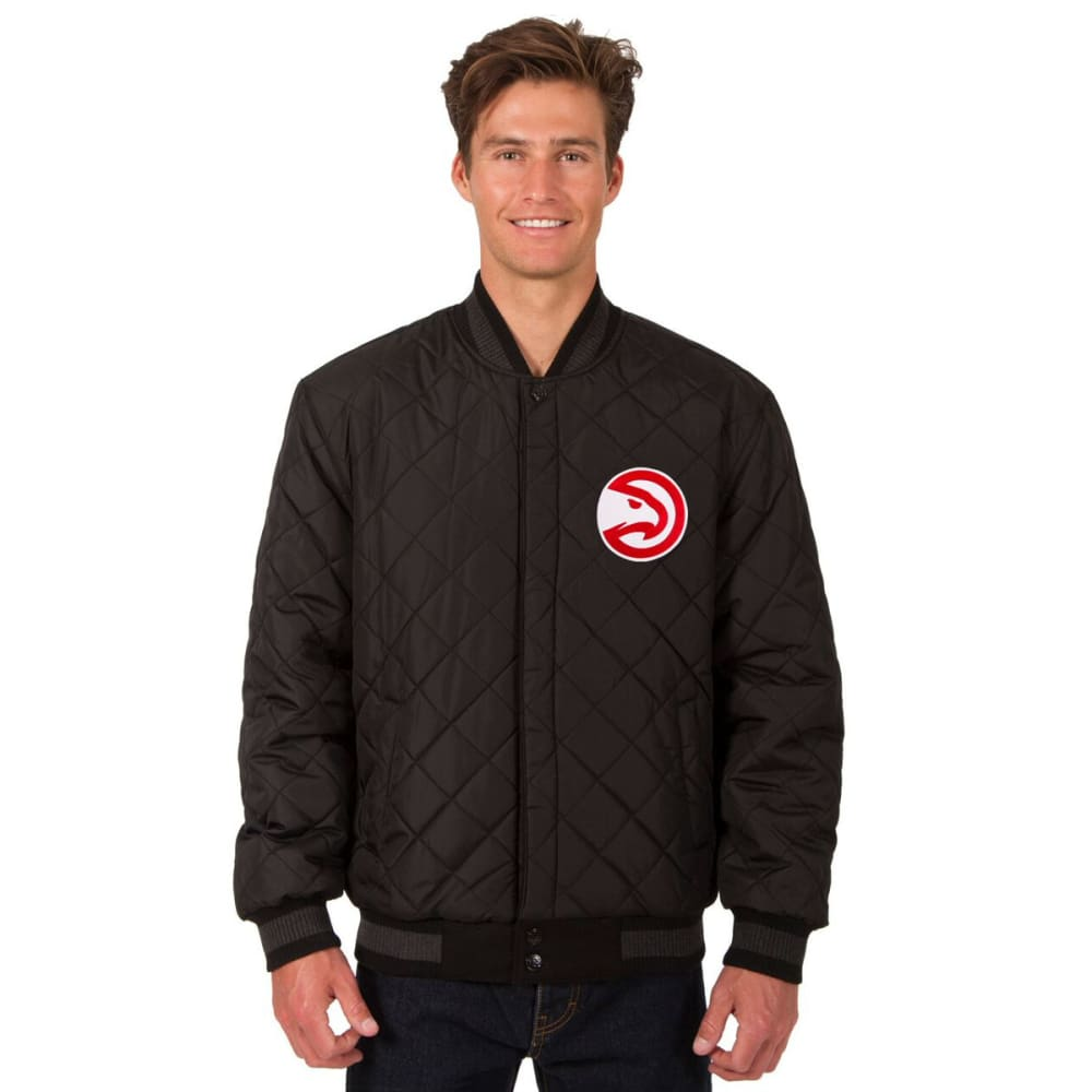 ATLANTA HAWKS Men's Wool and Leather Reversible One Logo Jacket - BLACK
