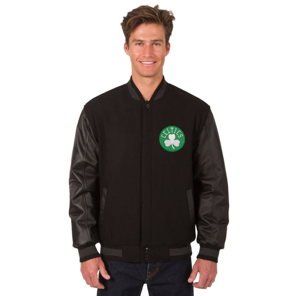 BOSTON CELTICS Men's Wool and Leather Reversible One Logo Jacket - BLACK