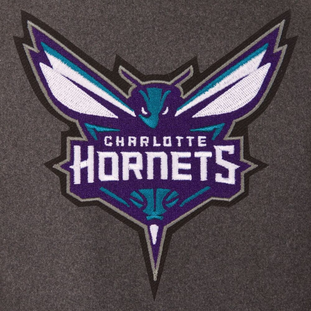CHARLOTTE HORNETS Men's Wool and Leather Reversible One Logo Jacket - CHARCOAL -BLACK