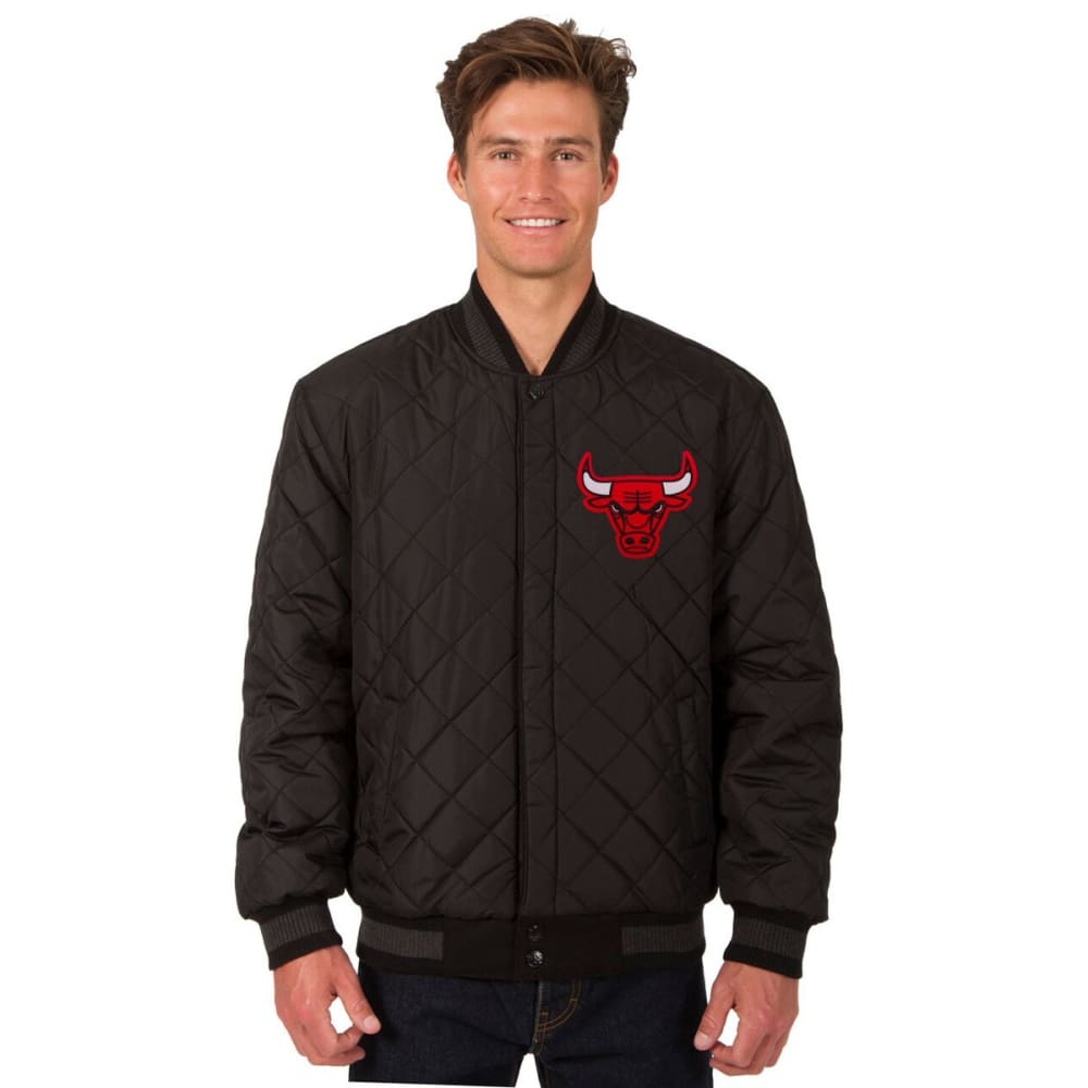 CHICAGO BULLS Men's Wool and Leather Reversible One Logo Jacket - CHARCOAL -BLACK