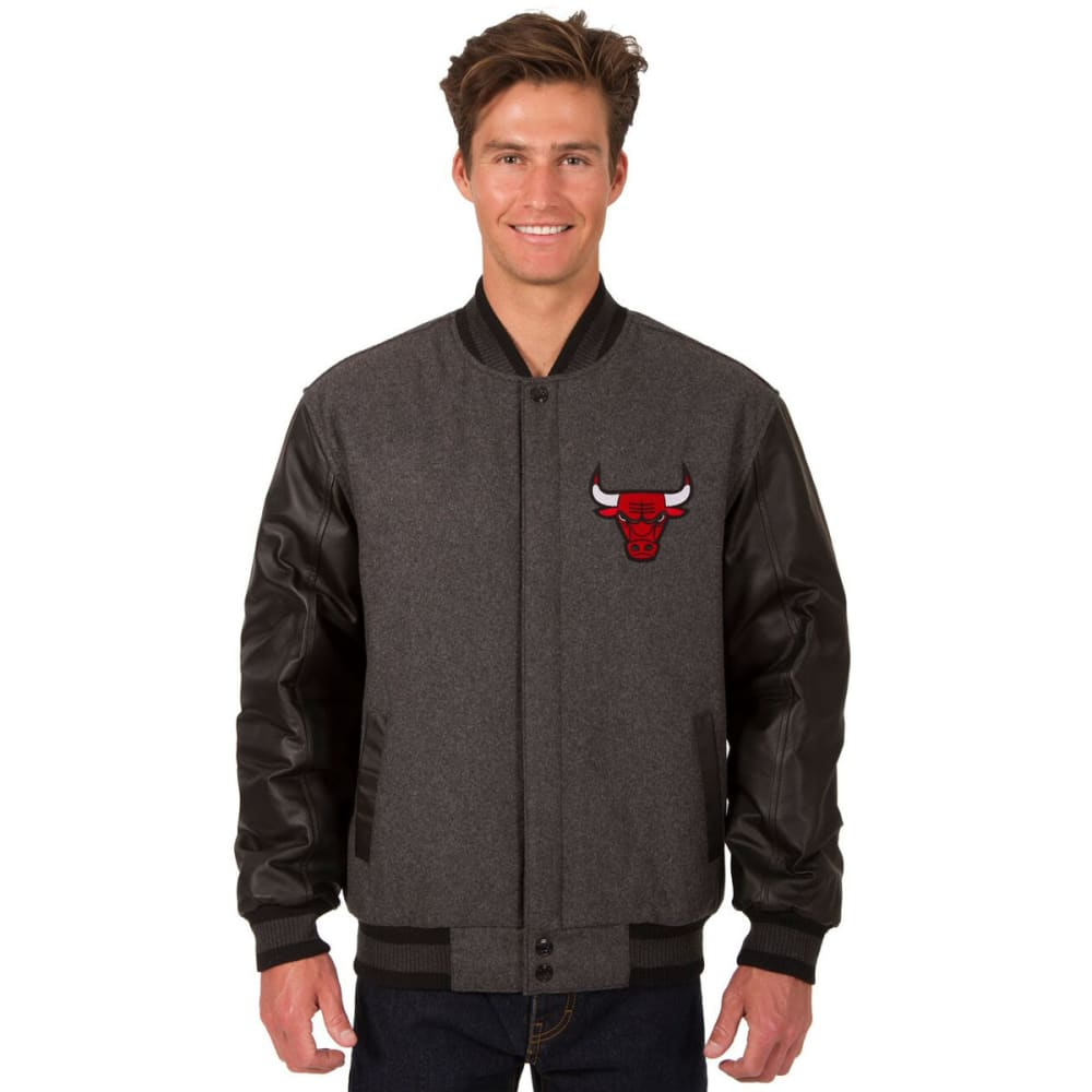 CHICAGO BULLS Men's Wool and Leather Reversible One Logo Jacket S