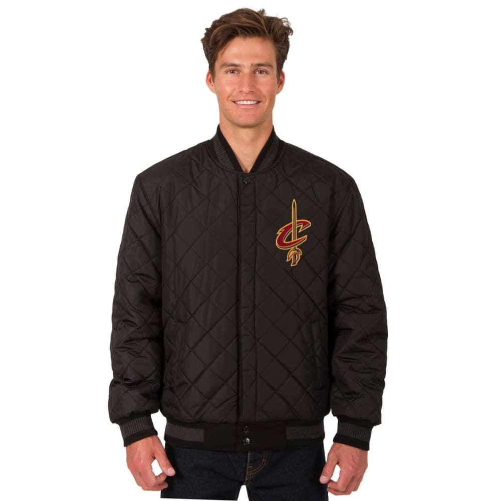 CLEVELAND CAVALIERS Men's Wool and Leather Reversible One Logo Jacket - CHARCOAL -NAVY