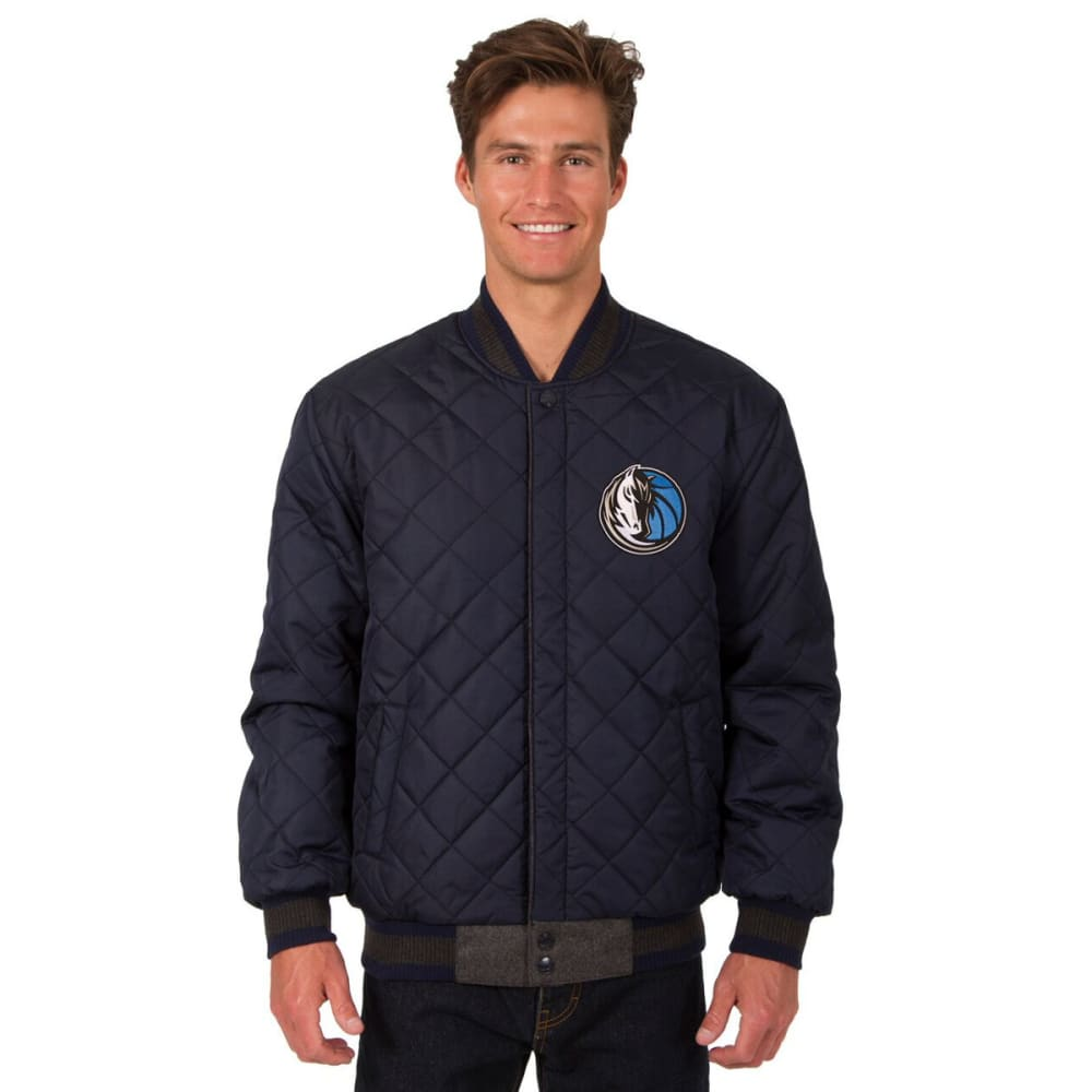 DALLAS MAVERICKS Men's Wool and Leather Reversible One Logo Jacket - CHARCOAL -NAVY