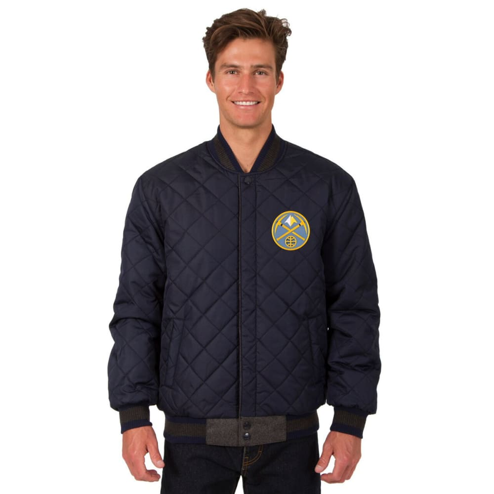 DENVER NUGGETS Men's Wool and Leather Reversible One Logo Jacket - CHARCOAL -NAVY