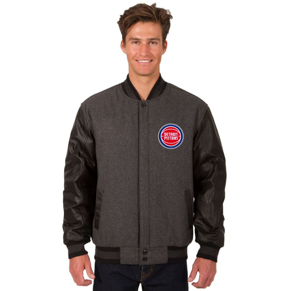 DETROIT PISTONS Men's Wool and Leather Reversible One Logo Jacket - CHARCOAL -BLACK