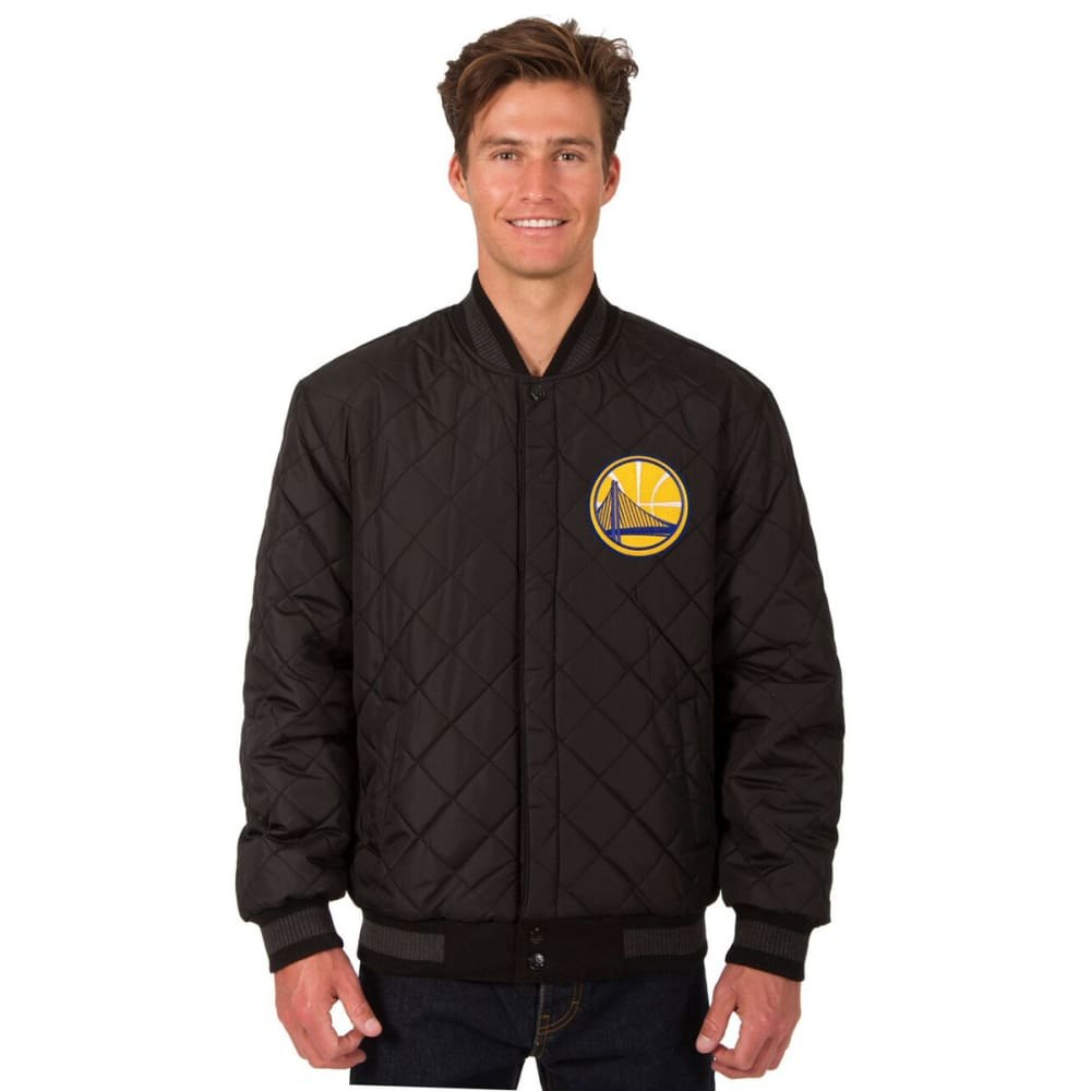 GOLDEN STATE WARRIORS Men's Wool and Leather Reversible One Logo Jacket - CHARCOAL -BLACK