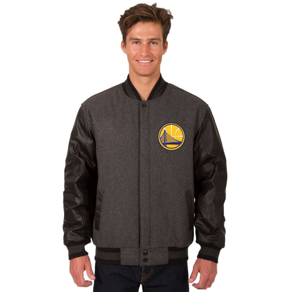 GOLDEN STATE WARRIORS Men's Wool and Leather Reversible One Logo Jacket S
