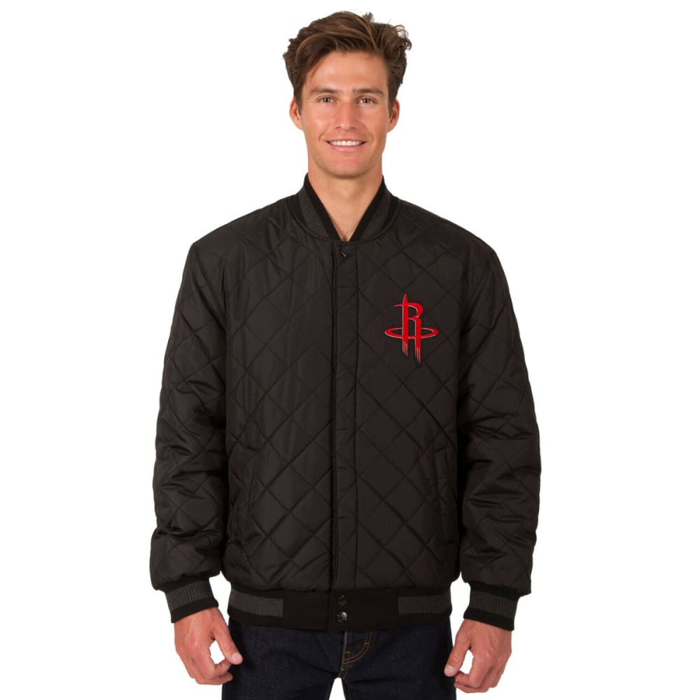 HOUSTON ROCKETS Men's Wool and Leather Reversible One Logo Jacket - BLACK