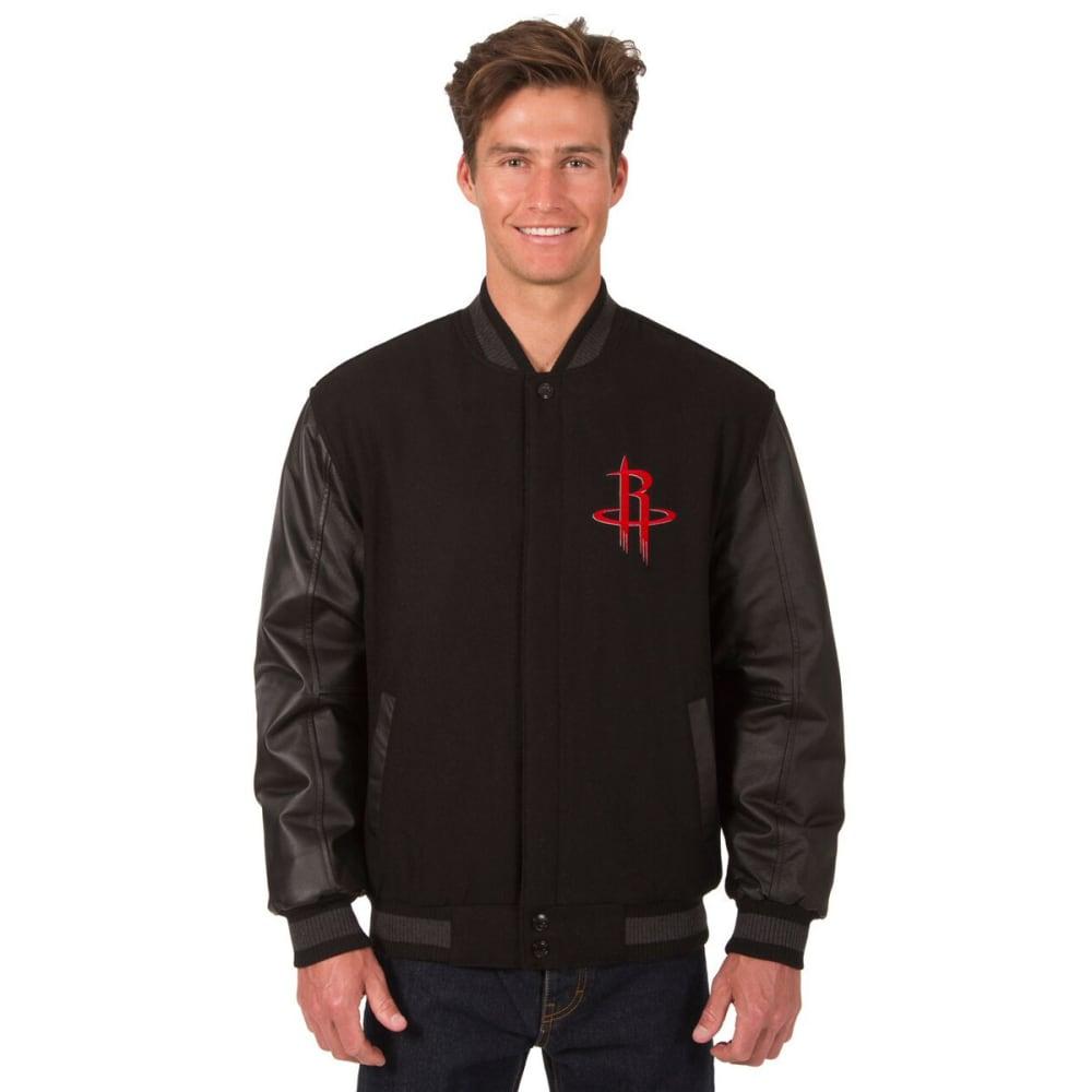 HOUSTON ROCKETS Men's Wool and Leather Reversible One Logo Jacket - BLACK