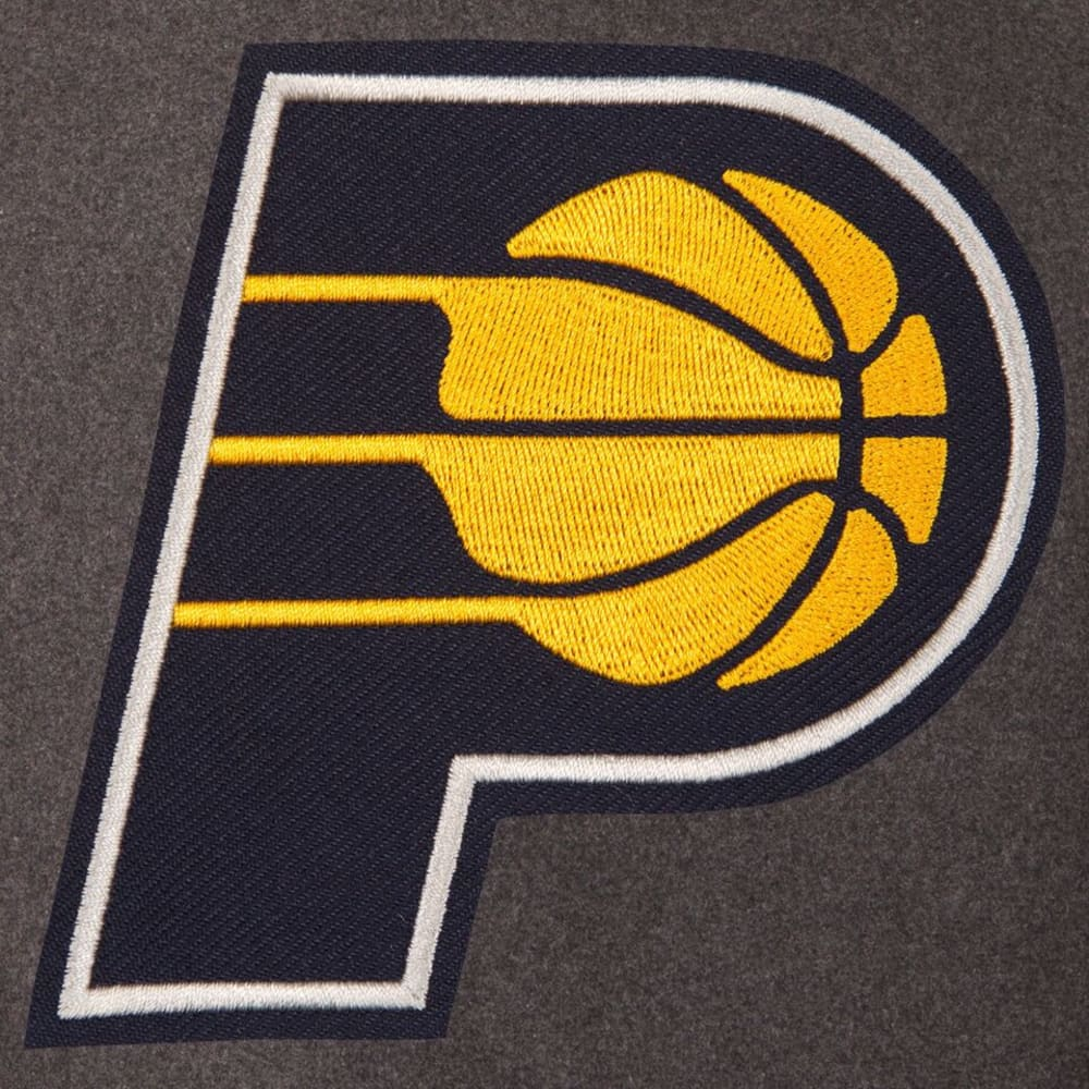 INDIANA PACERS Men's Wool and Leather Reversible One Logo Jacket - CHARCOAL -NAVY