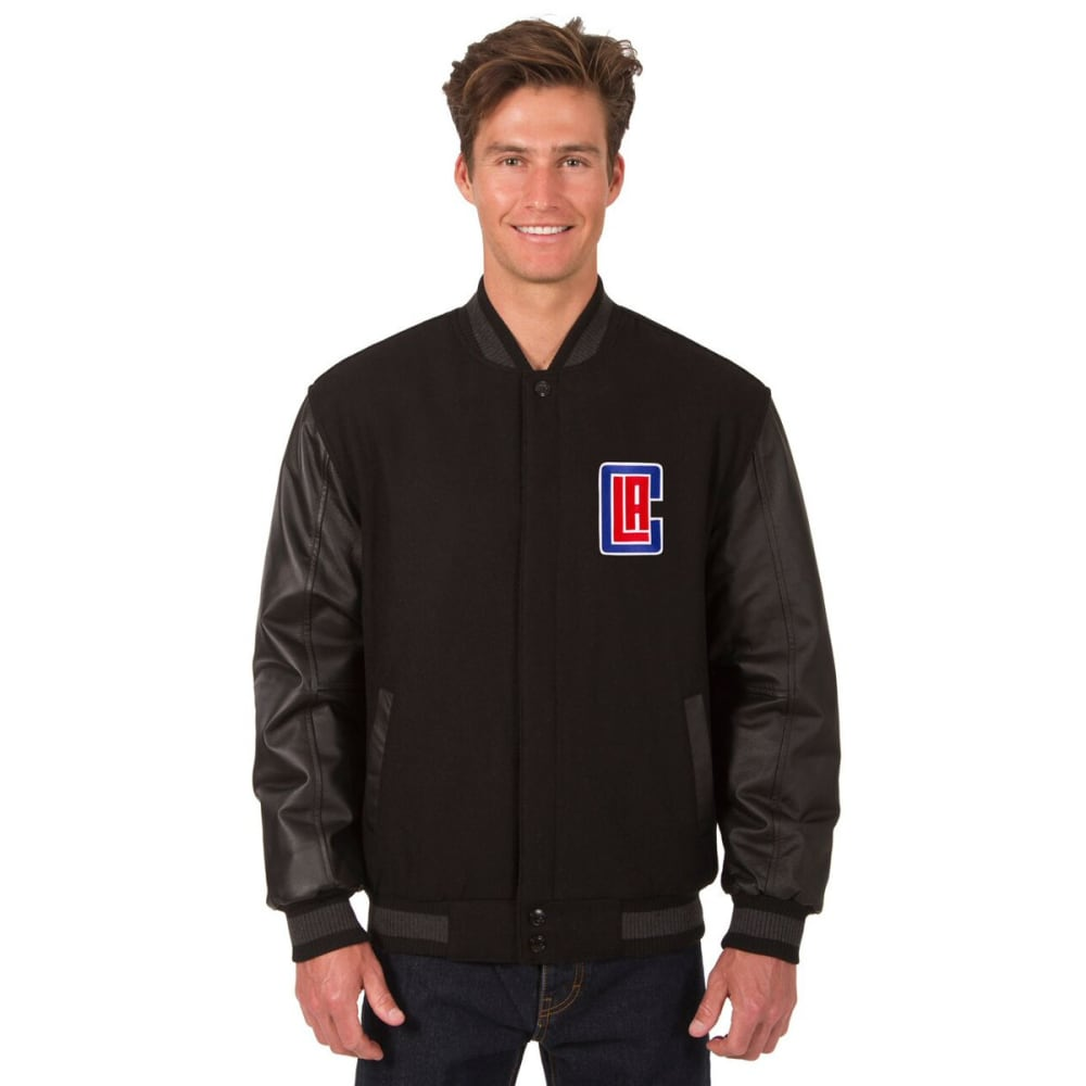 LOS ANGELES CLIPPERS Men's Wool and Leather Reversible One Logo Jacket - BLACK