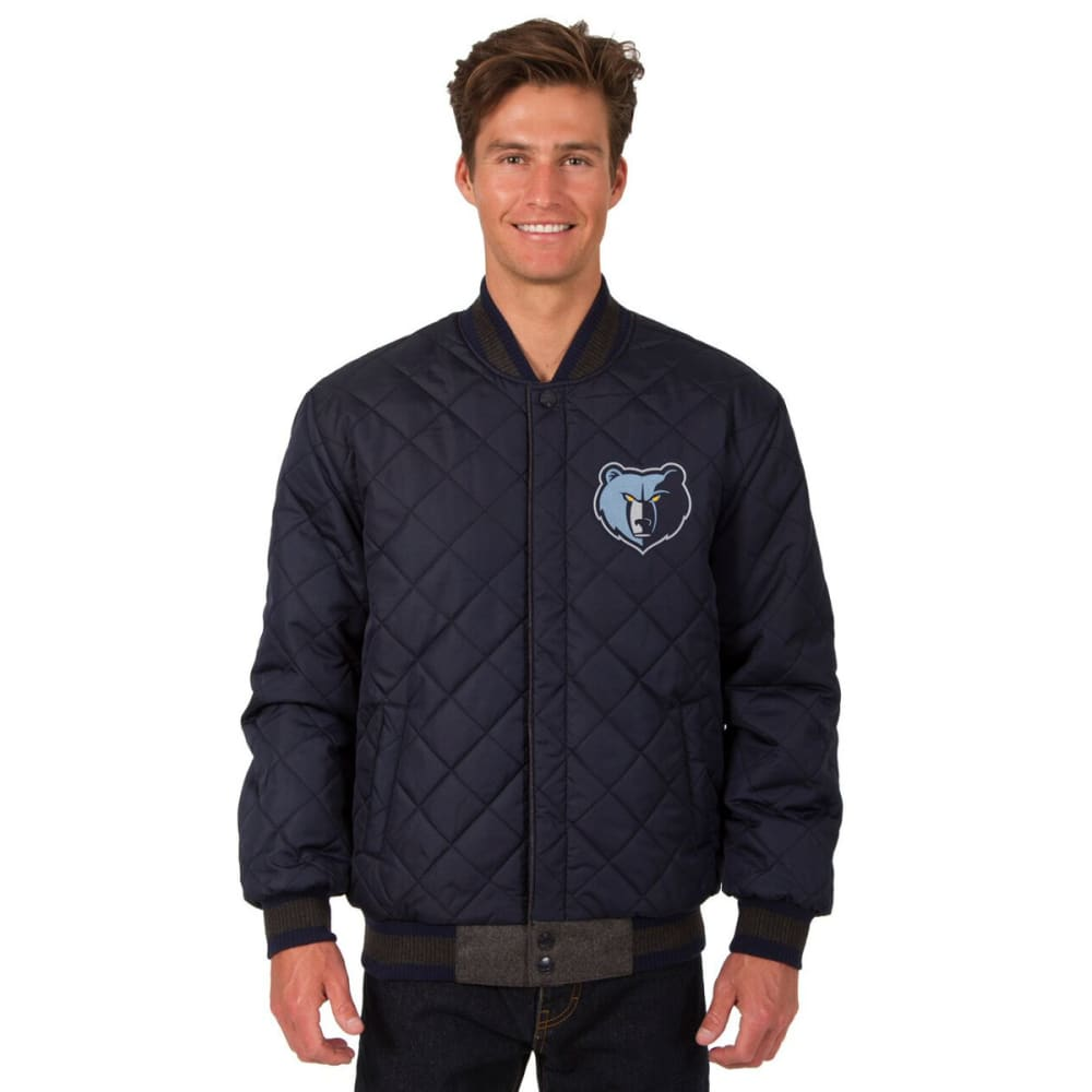 MEMPHIS GRIZZLIES Men's Wool and Leather Reversible One Logo Jacket - CHARCOAL -NAVY