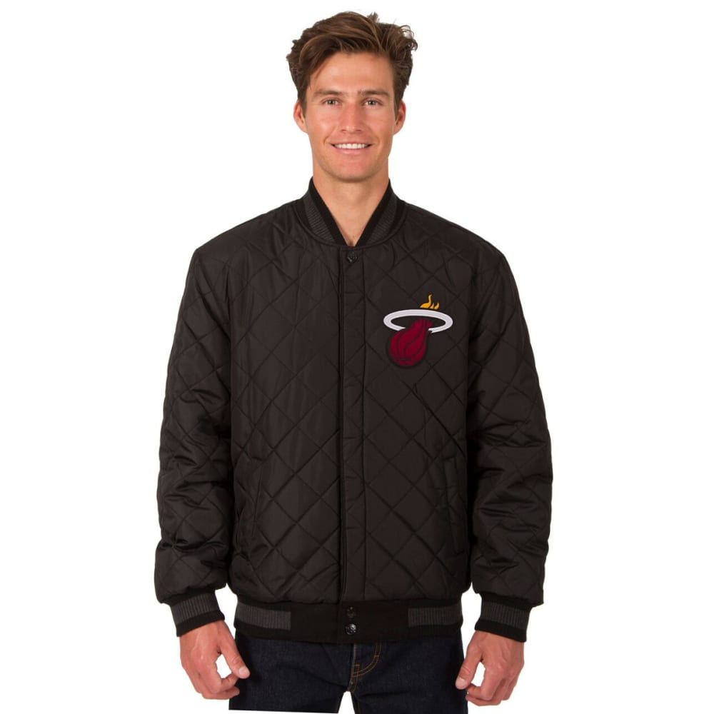 MIAMI HEAT Men's Wool and Leather Reversible One Logo Jacket - Charcoal Black