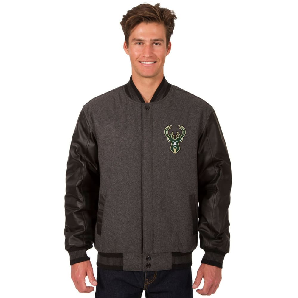 MILWAUKEE BUCKS Men's Wool and Leather Reversible One Logo Jacket - CHARCOAL -BLACK