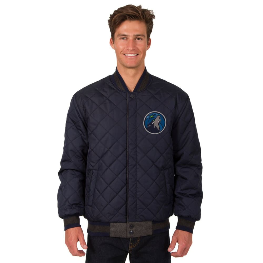 MINNESOTA TIMBERWOLVES Men's Wool and Leather Reversible One Logo Jacket - CHARCOAL -NAVY