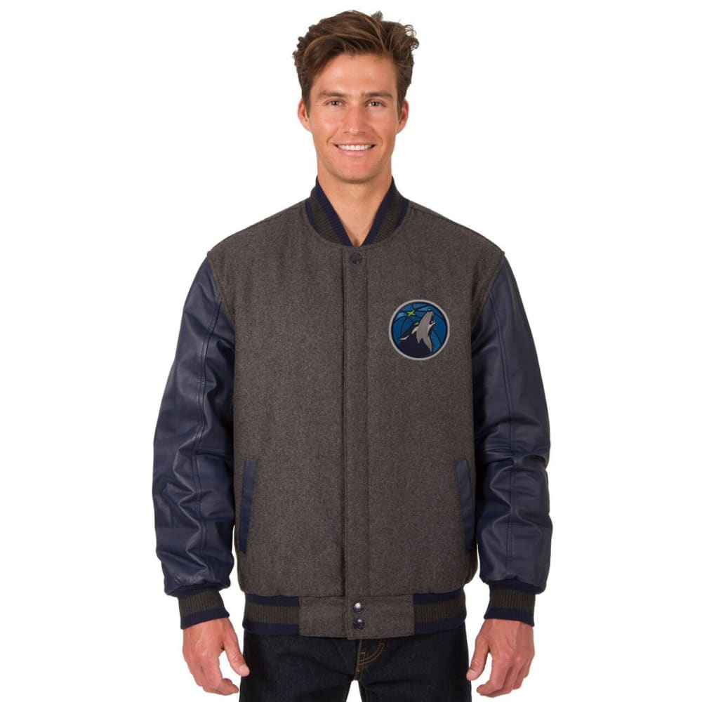 MINNESOTA TIMBERWOLVES Men's Wool and Leather Reversible One Logo Jacket M