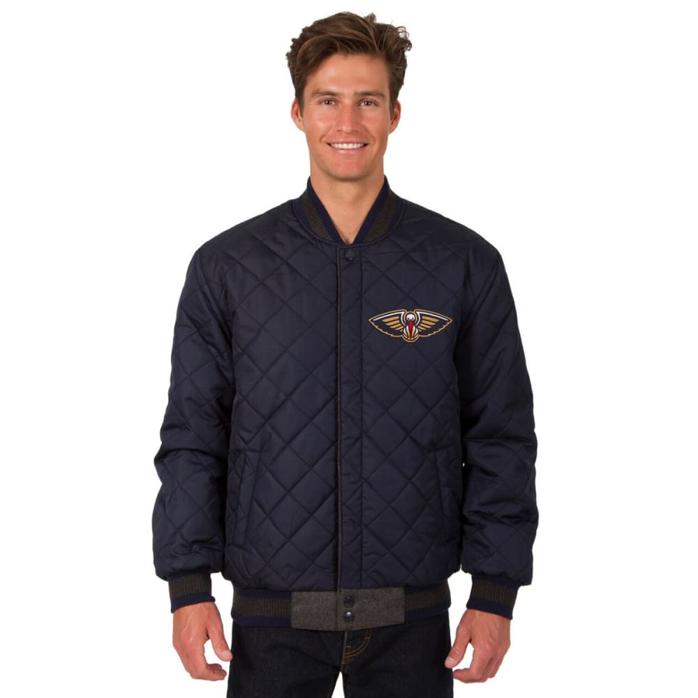 NEW ORLEANS PELICANS Men's Wool and Leather Reversible One Logo Jacket - CHARCOAL -NAVY
