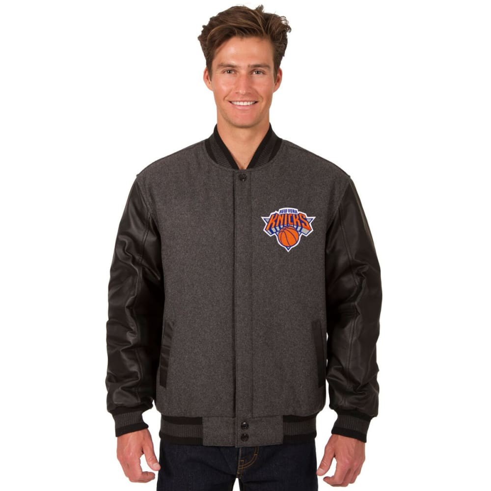 NEW YORK KNICKS Men's Wool and Leather Reversible One Logo Jacket - CHARCOAL -BLACK