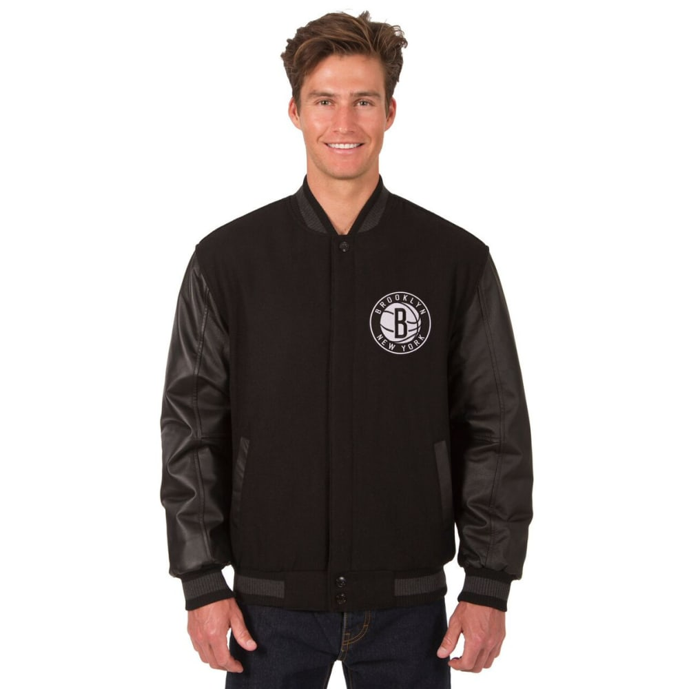 NEW YORK NETS Men's Wool and Leather Reversible One Logo Jacket - BLACK