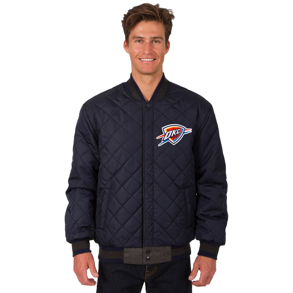 OKLAHOMA CITY THUNDER Men's Wool and Leather Reversible One Logo Jacket - CHARCOAL -NAVY