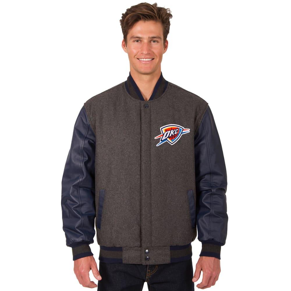 OKLAHOMA CITY THUNDER Men's Wool and Leather Reversible One Logo Jacket M
