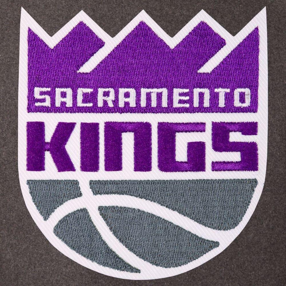 SACRAMENTO KINGS Men's Wool and Leather Reversible One Logo Jacket - CHARCOAL -BLACK
