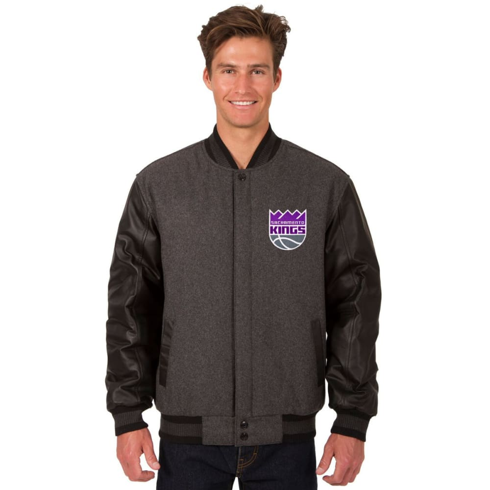 SACRAMENTO KINGS Men's Wool and Leather Reversible One Logo Jacket S