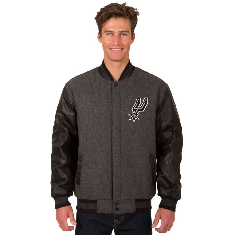 SAN ANTONIO SPURS Men's Wool and Leather Reversible One Logo Jacket - CHARCOAL -BLACK
