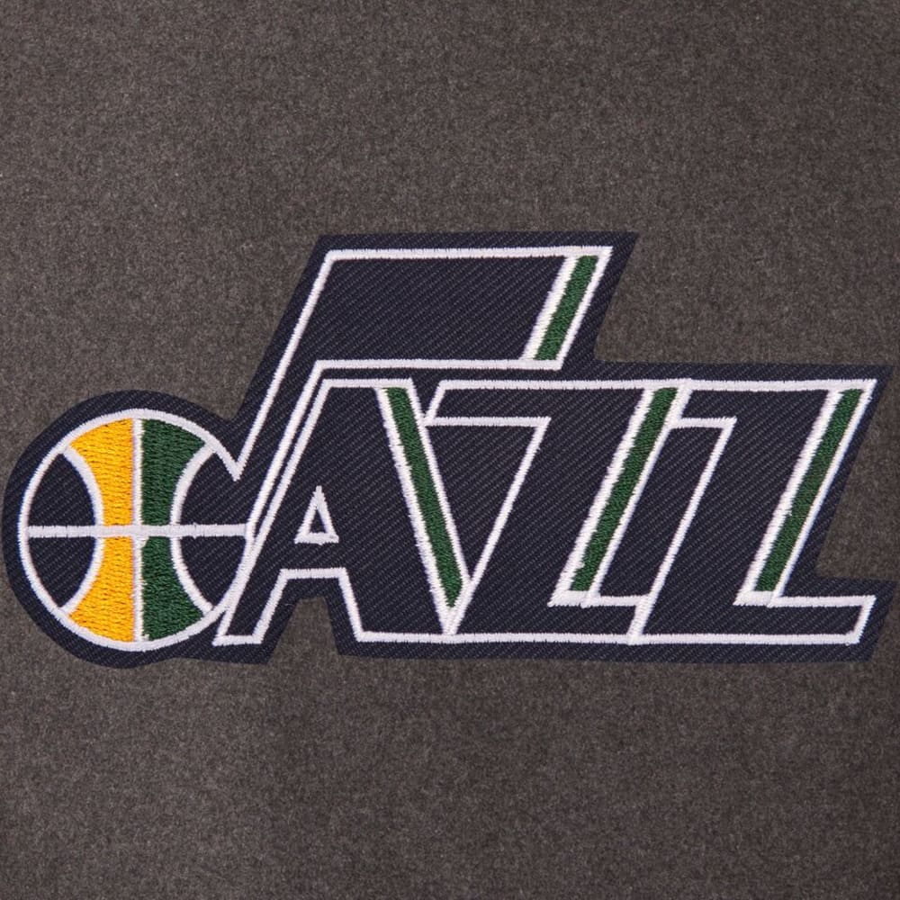 UTAH JAZZ Men's Wool and Leather Reversible One Logo Jacket - CHARCOAL -NAVY