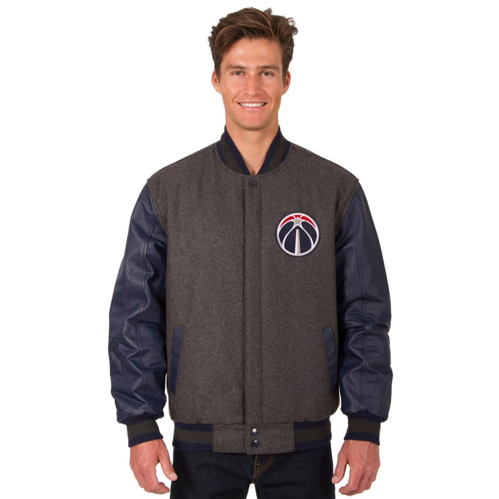 WASHINGTON WIZARDS Men's Wool and Leather Reversible One Logo Jacket - CHARCOAL -NAVY
