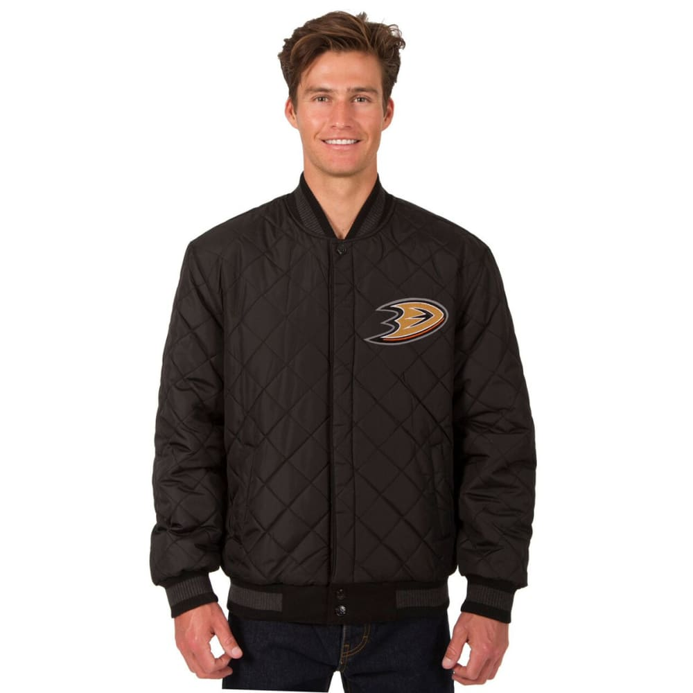 ANAHEIM DUCKS Men's Wool and Leather Reversible One Logo Jacket - CHARCOAL -BLACK