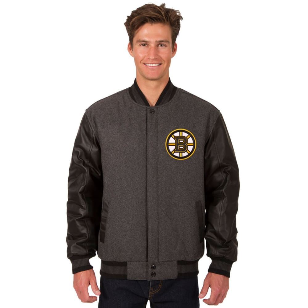 BOSTON BRUINS Men's Wool and Leather Reversible One Logo Jacket - CHARCOAL -BLACK