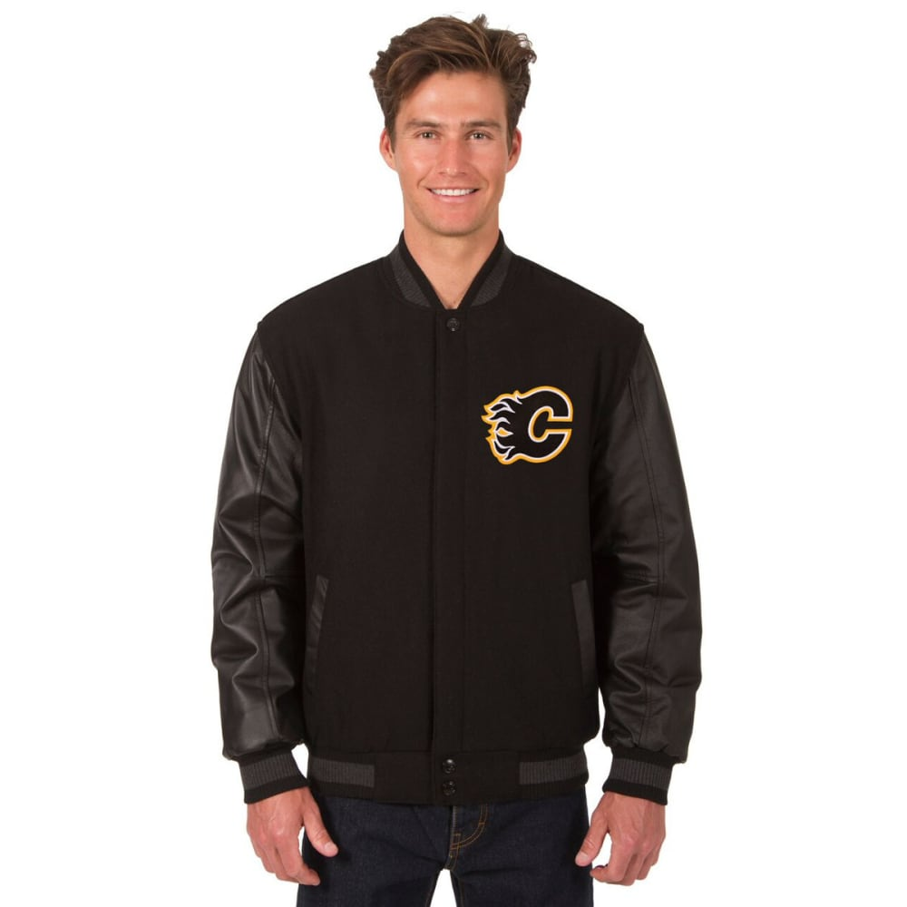CALGARY FLAMES Men's Wool and Leather Reversible One Logo Jacket - BLACK