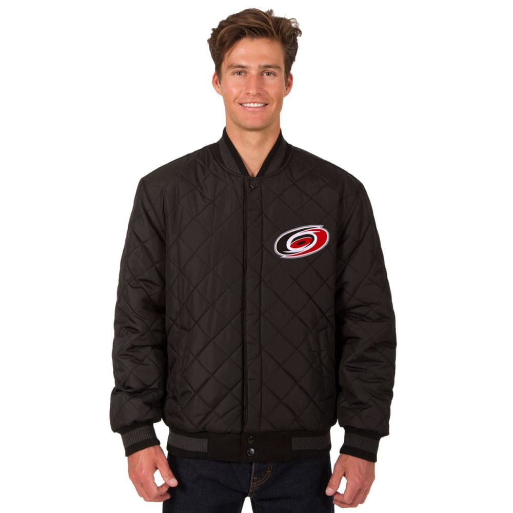 CAROLINA HURRICANES Men's Wool and Leather Reversible One Logo Jacket - BLACK