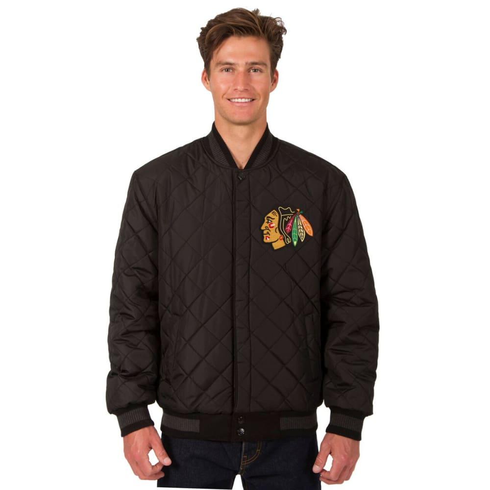 CHICAGO BLACKHAWKS Men's Wool and Leather Reversible One Logo Jacket - CHARCOAL -BLACK
