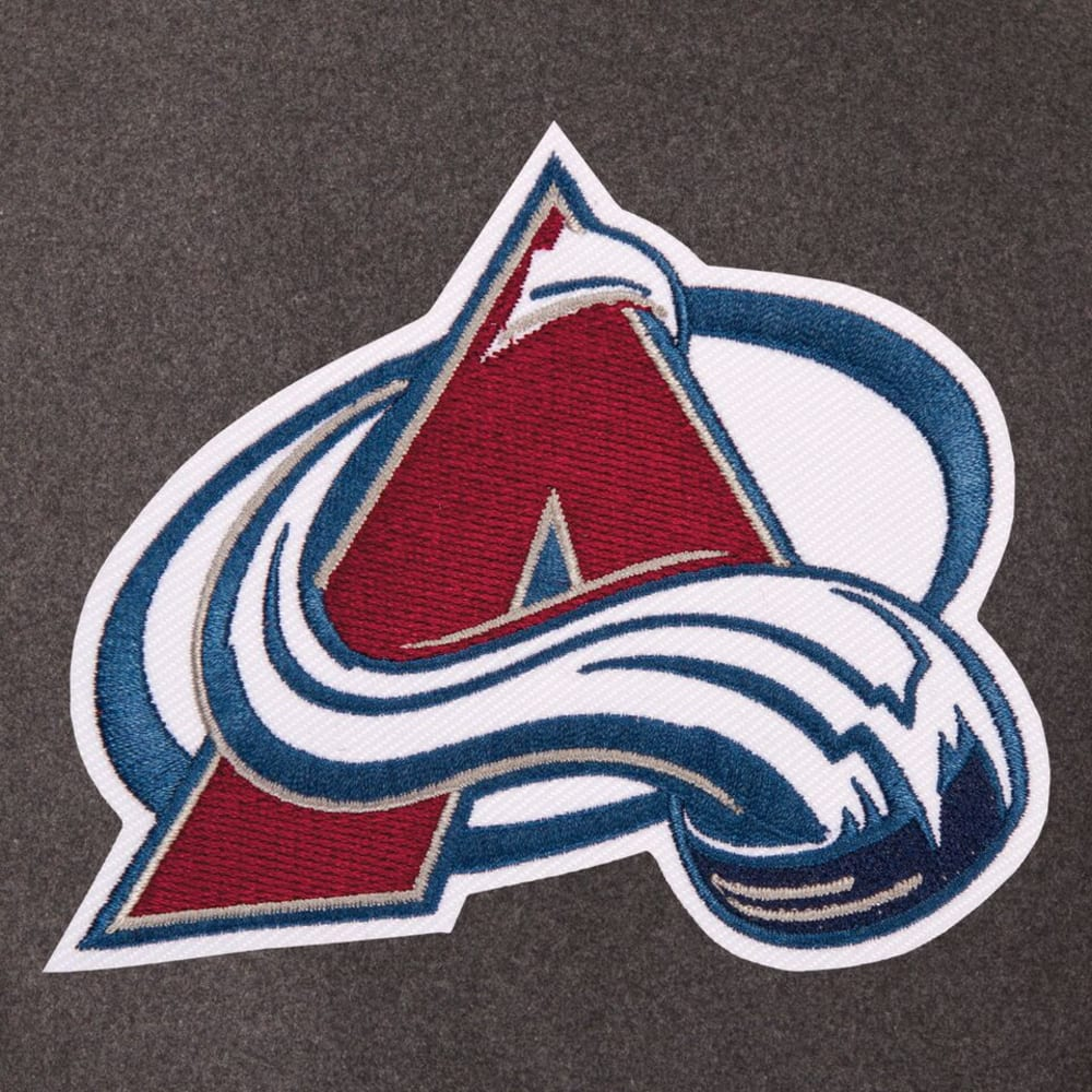 COLORADO AVALANCHE Men's Wool and Leather Reversible One Logo Jacket - CHARCOAL -NAVY